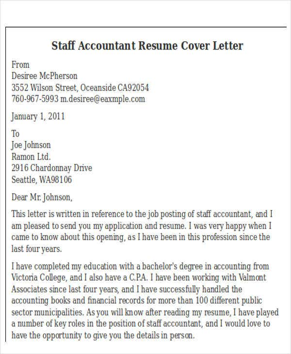 application letter of staff tax accountant