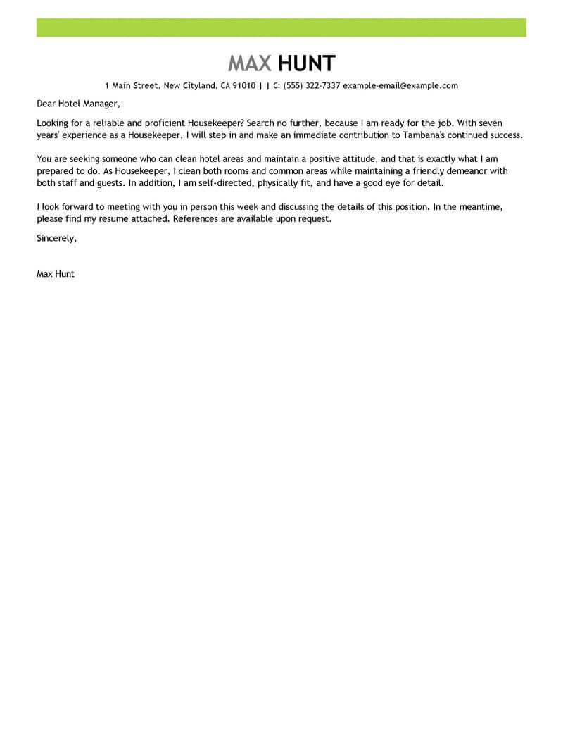 application letter for a housekeeping position