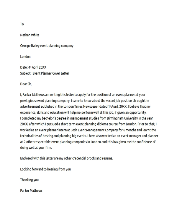 application letter for job as an event organizer