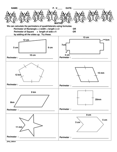 area and perimeter of all shapes pdf