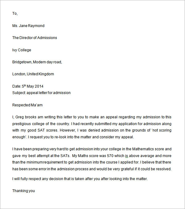 college application letter for second course examples