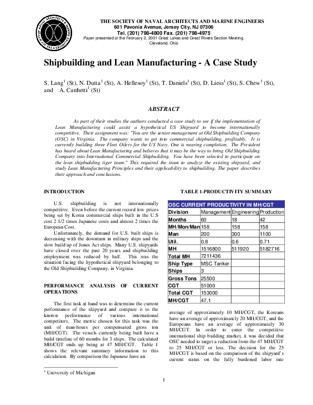 case study on lean manufacturing in pdf