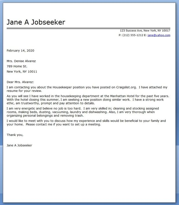 best sample introduction for application letter for housekeeping