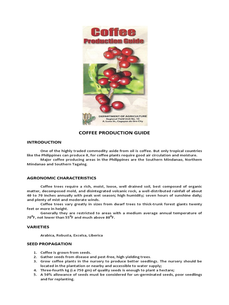 coffee production guide in the philippines pdf