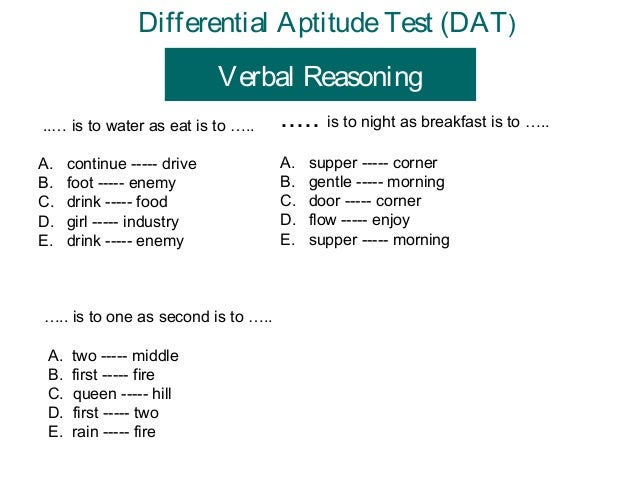 application of differential aptitude test