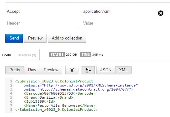 application xml json produce postman