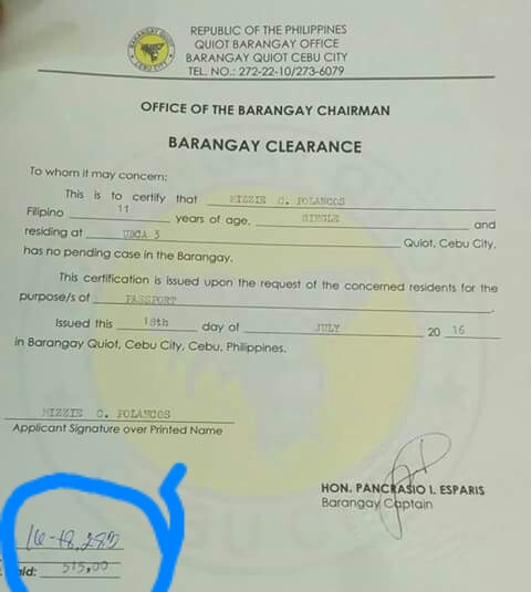 barangay clearance valid for passport application