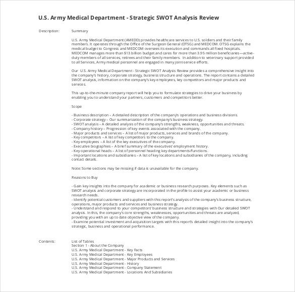 company audit report swot analysis pdf