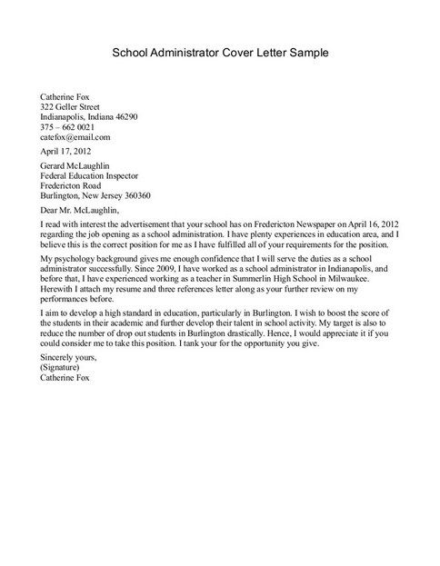 cover letter for private school application sample